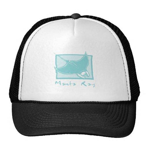 Woodcut Manta Ray Trucker Hats