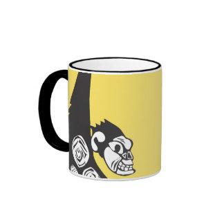 Woodcut Monkey in Trees Coffee Mugs