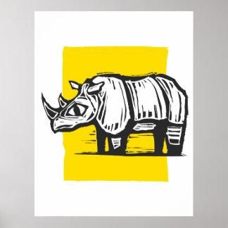 Woodcut Rhino Poster