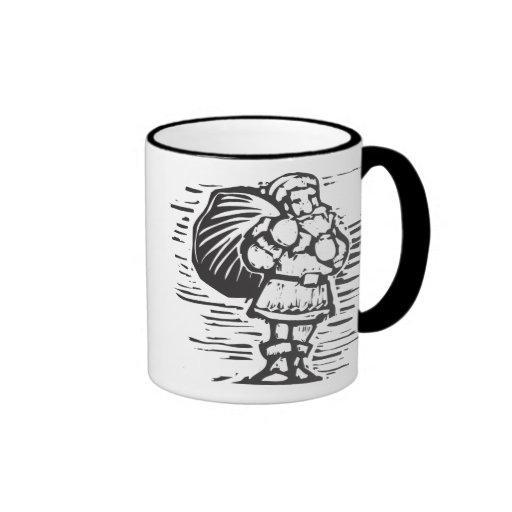 Woodcut Santa Coffee Mug
