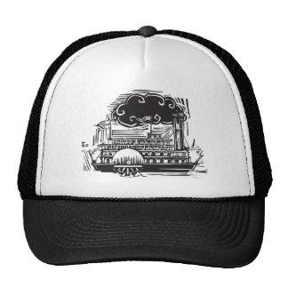 Woodcut Side wheel Steamboat Trucker Hat