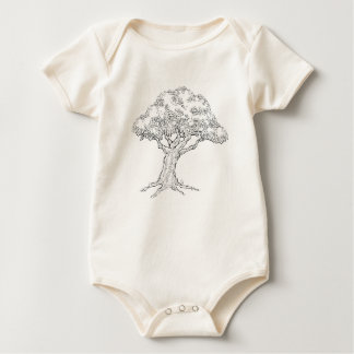 Woodcut sketch Style Tree Baby Bodysuit