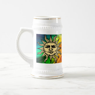 WOODCUT SUN 18 OZ BEER STEIN