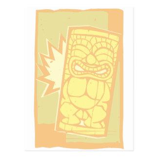 Woodcut Tiki A Postcard