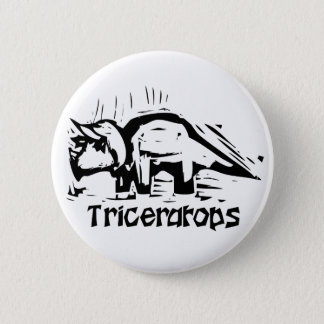 Woodcut Triceratops 2 Inch Round Button