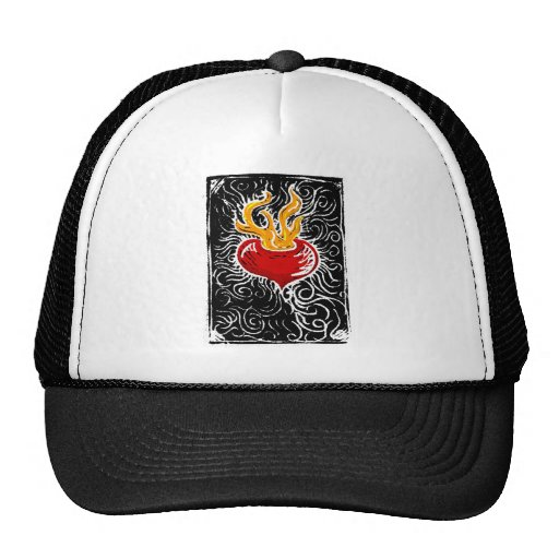 Woodcut Valentine - Flaming Heart Hats