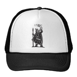 Woodcut Viking with Horn Trucker Hat