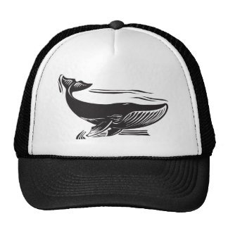 Woodcut Whale 6 Mesh Hat