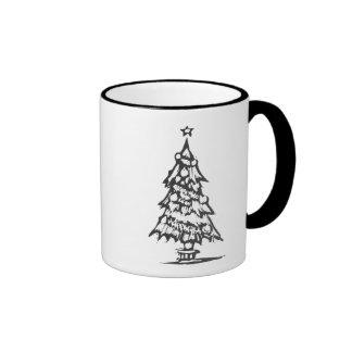 Woodcut Xmas Tree Coffee Mug