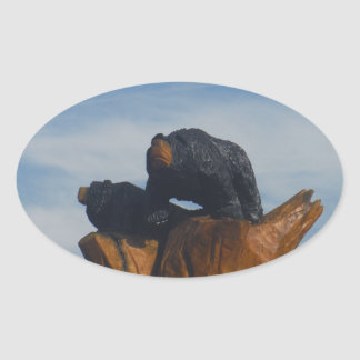 Wooded Black Bearswith  Blue Smoky Mountains Sky Oval Sticker