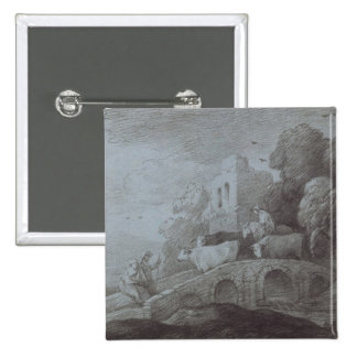 Wooded Landscape with Herdsman Driving Cattle (etc 2 Inch Square Button