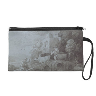 Wooded Landscape with Herdsman Driving Cattle (etc Wristlet