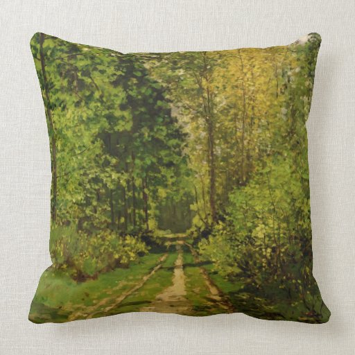 Wooded Path, 1865 (oil on canvas) Throw Pillow