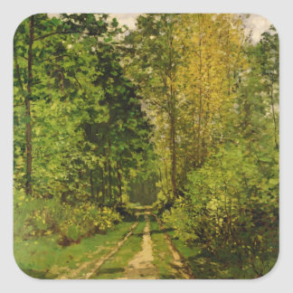 Wooded Path, 1865 (oil on canvas) Square Sticker