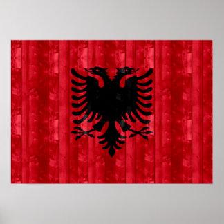 Wooden Albanian Flag Poster