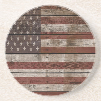 Wooden American Flag Coaster