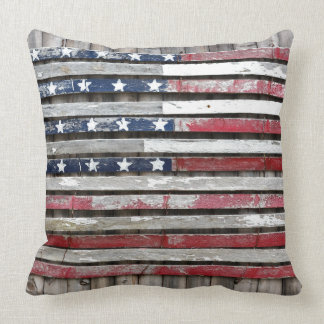 Wooden American Flag Pillow