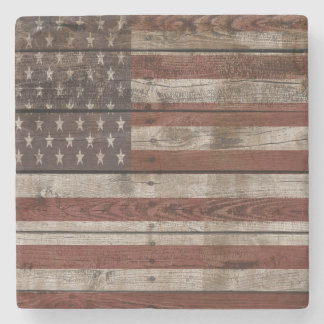 Wooden American Flag Stone Coaster