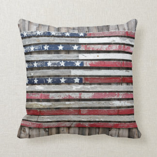 Wooden American Flag Throw Pillow