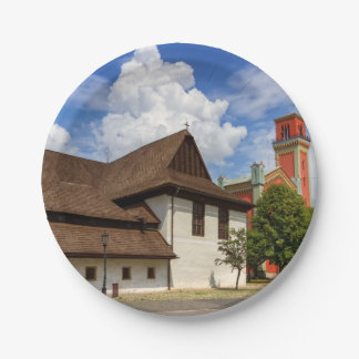 Wooden articular church in Kezmarok, Slovakia Paper Plate