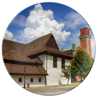 Wooden articular church in Kezmarok, Slovakia Plate