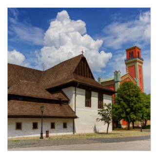 Wooden articular church in Kezmarok, Slovakia Poster