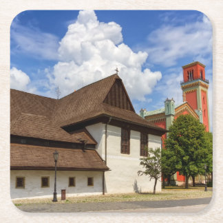 Wooden articular church in Kezmarok, Slovakia Square Paper Coaster