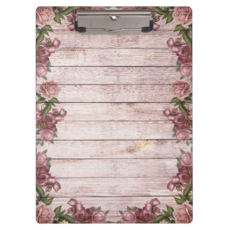 Wooden Background Modern Elegant Pink Magenta Rose Clipboard