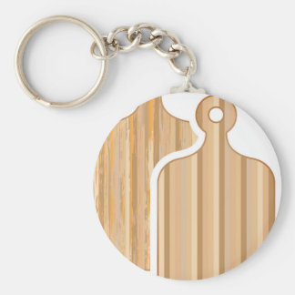 Wooden Bamboo cutting boards Basic Round Button Keychain