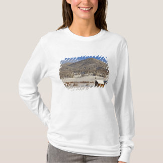 Wooden barn sits in snow near the Boulder T-Shirt