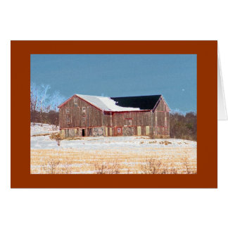 Wooden Barn with Snow and Crop Stalks Card