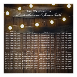 Wooden Barrel Lights Rustic Wedding Seating Chart