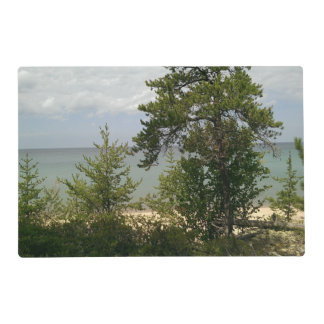wooden beach laminated placemat
