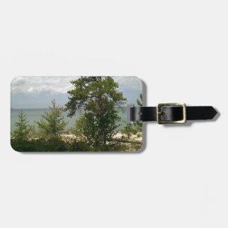 wooden beach luggage tag