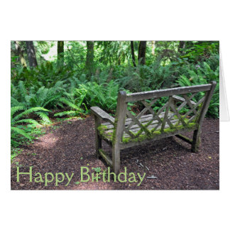 Wooden bench in park card