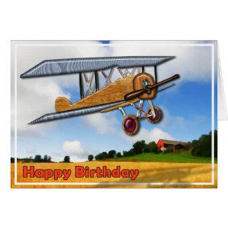 Wooden Biplane Over Fields  Happy Birthday Card