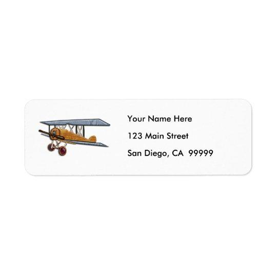 Wooden Biplane Return Address Label