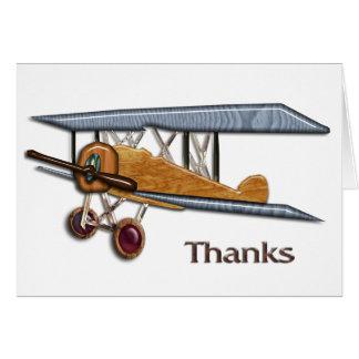 Wooden Biplane Thanks Card