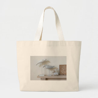 Wooden birds and birch sheep large tote bag
