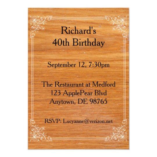 Wooden Birthday Invitation