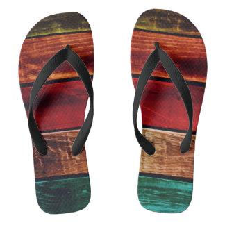 Wooden Boards Multi Flip Flops Jandals Thongs Slop