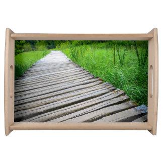 Wooden Boardwalk Hiking Trail Serving Platters