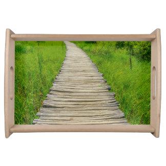 Wooden Boardwalk Hiking Trail Serving Tray