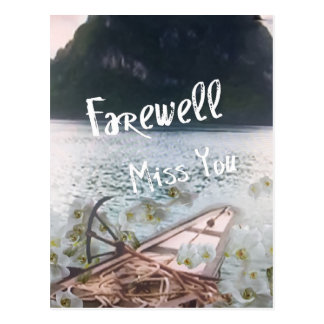 wooden boat  miss you.PNG Postcard