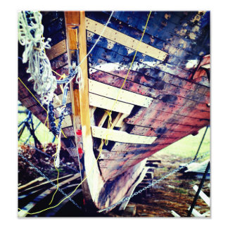 Wooden Boat Patchwork Photo Print