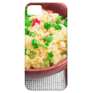 Wooden bowl of cooked rice and leek case for the iPhone 5