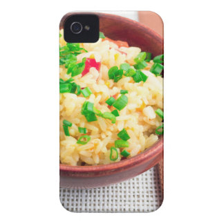 Wooden bowl of cooked rice and leek iPhone 4 Case-Mate case