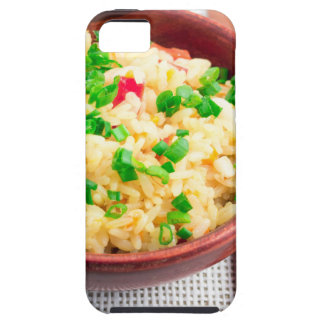 Wooden bowl of cooked rice and leek iPhone 5 covers
