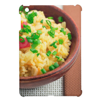 Wooden bowl of cooked rice and vegetables iPad mini cases