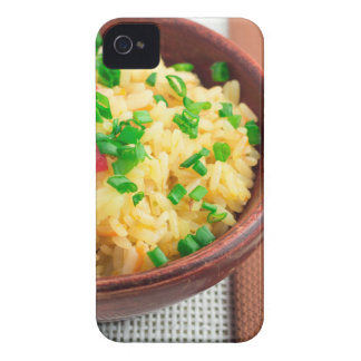 Wooden bowl of cooked rice and vegetables iPhone 4 Case-Mate cases